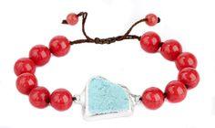 Nina Nguyen Designs Divine Lotus Bracelet Red Coral & Turquoise Slab