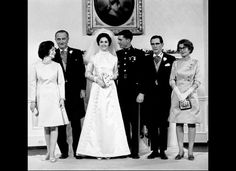 This Dec. 9, 1967 file photo shows newlyweds Marine Corps Capt. Charles S. Robb and Lynda Bird Johnson as they pose with their parents at the White House in Washington. Standing from left to right are, first lady Lady Bird Johnson, President Lyndon B. Johnson, the bride-groom, James S. Robb and Mrs. Robb.