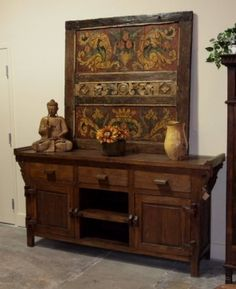 Large Reclaimed Teak Buffet & Old Painted Bed Panel - Indonesian Furniture | Gado Gado