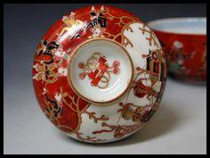 江戸時代 古伊万里 金襴色絵 南蛮人に船図 蓋付 碗