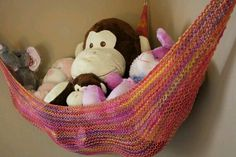 """toy hammock for stuffed animals . perfect for Jason's """"kids"""" :) toy hammock for stuffed animals … perfect for Jason's """"kids"""" 🙂 Organizing Stuffed Animals, Stuffed Animal Storage, Stuffed Toy, Toy Storage Bins, Fabric Storage Baskets, Hanging Fabric, Diy Hanging, Stuffed Animal Hammock, Toy Hammock"""