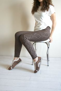 Not sure how I'd wear these, but I like 'em Free Shipping  Brown Knitted Stretch Tight  Pants Cable  Leggings Legwarmer on Etsy, $49.00
