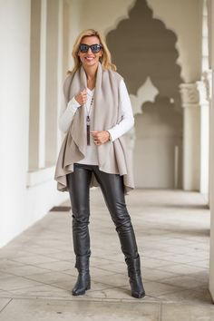 Our Putty Cape Vest featured on my blog is back in stock purchase this best selling item at www.jacketsociety.com/shop