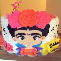Frida Kahlo Inspired Cake! Mexican Birthday Parties, Mexican Party, Girly Cakes, Cute Cakes, Beautiful Cakes, Amazing Cakes, Fondant Cakes, Cupcake Cakes, Frida Kahlo Birthday