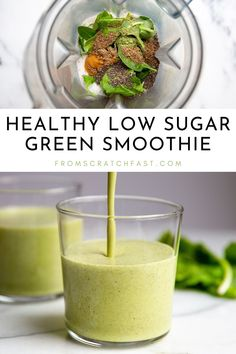 This superpower simple green smoothie is ultra nourishing and delicious. It's a creamy, low sugar green smoothie that's high in fiber and protein. You can even make it completely sugar free! Gluten Free Recipes For Breakfast, Gluten Free Breakfasts, Vegetarian Breakfast, Breakfast Dishes, Low Sugar Smoothies, Green Smoothie Recipes, Fruit Smoothies, Drink Recipes, Healthy Recipes