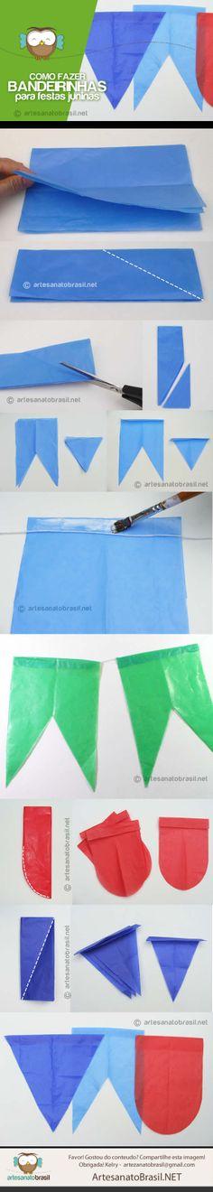 Como fazer bandeiras para festa junina.