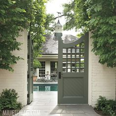 Custom Metal Garden Gates Uk Latticework Patterned Wooden Gates Which Open To A Pool And Pool House Convey A Sense Of Playfulness As Well As Privacy Landscape Architecture And Custom Custom Metal Gar Garden Gates And Fencing, Garden Doors, Fence Gate, Fences, Pool Gates, Backyard Gates, Brick Fence, Backyard Pools, Pool Decks