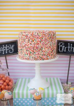 Gorgeous sprinkle cake at a Rainbow Party!   See more party ideas at CatchMyParty.com!  #partyideas #rainbow