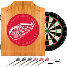 NHL Detroit Redwings Dart Cabinet includes Darts and Board