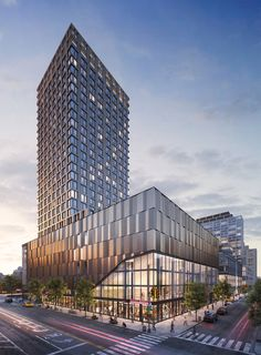 Leasing Officially Launches for Essex Crossing's The Essex, at 125 Delancey Street, on The Lower East Side New York YIMBY is part of Condominium design - Office Building Architecture, Building Facade, Facade Architecture, Mix Use Building, High Rise Building, Building Design, Restaurant Hotel, T2 T3, Architecture Visualization