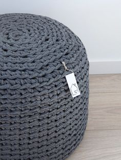 Dark grey crocheted pouf by HomeSweetHomeDesign on Etsy