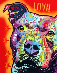 Image of Thoughtful Pit Bull PRINT  http://www.deanrussoart.bigcartel.com/product/daisy-pit-print