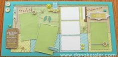 Two Page Scrapbook Layout Spring Friends Skylark Cricut CTMH #cricut #CTMH #scraptabulousdesigns