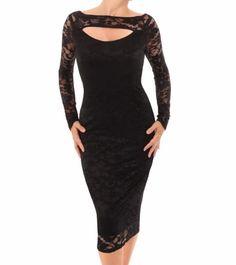 Black Lace Keyhole Dress #womensfashion Justblue.com
