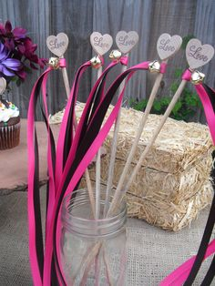 Rustic Heart Wedding Wands - Use this instead of brides maids flowers