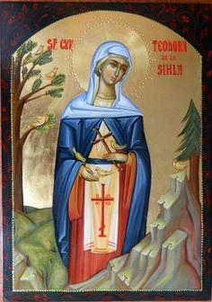 Theodora of Sihla by Elena Cerasela Ciuca Orthodox Icons, Byzantine, Narnia, Saints, Religion, Princess Zelda, Fictional Characters, Collection, Female