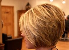 Layered Blond Stacked Bob Hairstyle