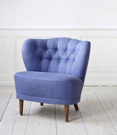 cotton fabric, oak legs, 1940s, Sweden - The Apartement