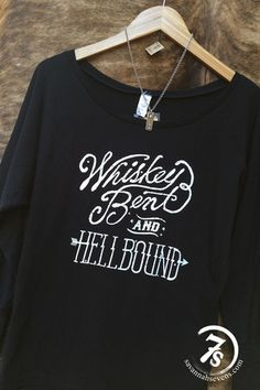 """The Wild One – """"Whiskey Bent and Hell Bound"""" graphic long sleeve tee from Savannah Sevens Western Chic"""