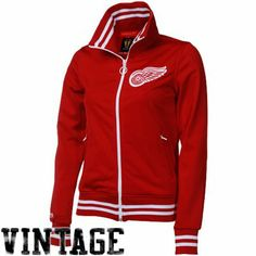 Mitchell & Ness Detroit Red Wings Ladies Red Vintage Track Jacket