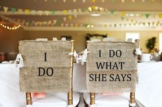 Bride & groom burlap chair covers by HeartofGoldblog via Etsy. #weddingsigns #bride&groomchairs #weddingseating