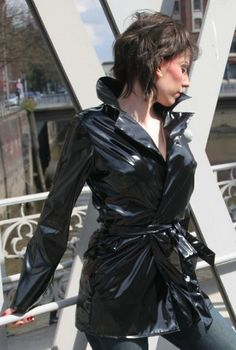 Vinyl Raincoat, Pvc Raincoat, Black Raincoat, Vinyl Clothing, Pvc Coat, Rain Wear, Unisex, Leather Jacket, Womens Fashion