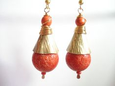 Hammered Bronze Coral Modern Earrings Unique Sponge Coral