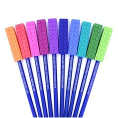 Ark's Brick Stick /chewable Pencil topper is a perfect solution for those who chew pen and pencils. Brick Stick Pencil Toppers are safe to chew, help calm and self regulate. Available in 3 Toughness levels for mild to agressive chewing. S Brick, Pencil Toppers, Turquoise, Sensory Play, Texture, Ark, Shapes, Occupational Therapy, Art Supplies