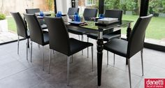 Epoque Black Glass and Elise Extending Dining Set