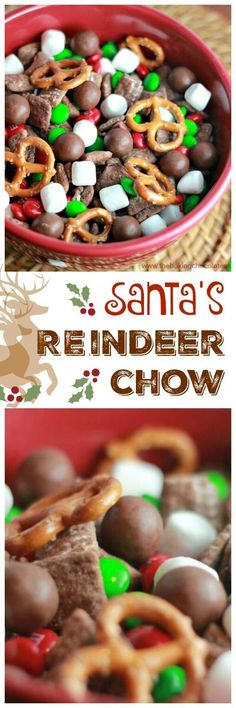 Here comes Santa Claus, Here comes Santa Claus, right down Reindeer Lane! Santa's gearing up for that special night before Christmas and do you know what snack Reindeer love the most? Santa's Yummy Reindeer Chow!! via @https://www.pinterest.com/BaknChoco (Christmas Party Snacks)