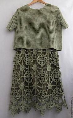 Купить Костюм Шартрез - салатовый, рисунок, Вязание крючком, юбка вязаная, Костюм вязаный, хлопок