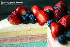 Candy Color Layer Cake with Berries
