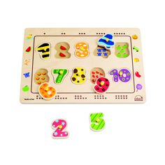 Children match the number shape to the puzzle outline and find the corresponding number of dots. Puzzle play helps children develop fine motor skills, cognition, and visual senses. Unlike other knob puzzles, Educo puzzles by Hape Int. are screen printed onto the wood base. They are manufactured using quality Russian Birch plywood and child safe German inks and finishes.