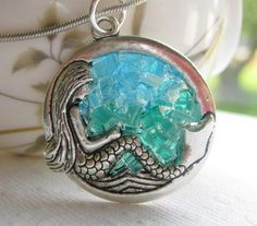 Stained Glass Mermaid Necklace, Silver Glass Mermaid. $24.00, via Etsy.