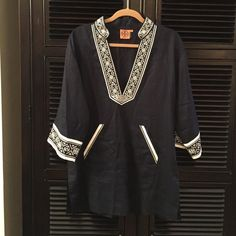 Tory Burch Tunic/Swim Cover-up Tory Burch Tunic/Swim Cover-up. Navy and white. Size M. Beautiful detail!! Worn only a few times. Authentic. Purchased from Tory Burch official website Tory Burch Swim Coverups