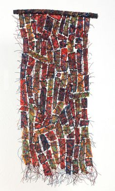 Remnants: Recycled Artwork - 2011 28 x 12 in Fiber, encaustic, paint, oils. Sculpture Textile, Textile Fiber Art, Creative Textiles, Encaustic Art, Fabric Manipulation, Recycled Art, Fabric Art, Medium Art, Paper Art