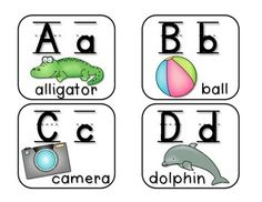ABC word wall labels with pictures