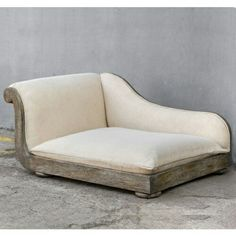 Off White Antique Style Dog Chaise Bed Plush Wood Pet Sofa Dog Sofa Bed, Diy Dog Bed, Sofa Couch, Sofa Beds, White Sofa Bed, White Sofas, Dog Furniture, Garden Furniture, Dog Rooms