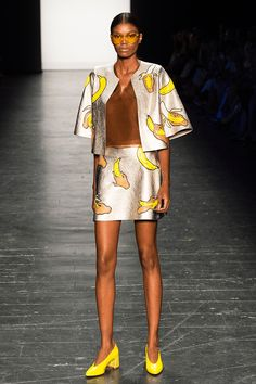 10/8 Pop culture is a huge part of this era. Ever since emojis were created for texting, the fashion industry has found a creative way to bring that into apparel. This photo is a perfect example, show casing bananas all over the two piece set. -Hayley S.
