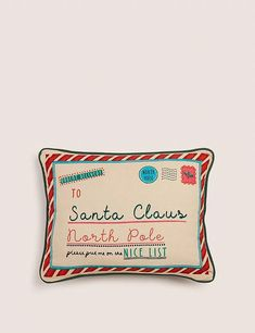 Pure Cotton Small Christmas Cushion | M&S Christmas Cushions, Envelope Design, Christmas Fun, Card Holder, Santa, Pure Products, Cotton, Gift Ideas, Christmas Pillow