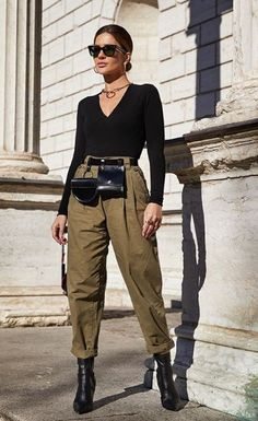15 Transitional Winter-to-Spring Outfits We Love New Outfits, Stylish Outfits, Spring Outfits, Fashion Outfits, Fashion Ideas, Slouchy Outfit, Pantalon Slouchy, Look Kylie Jenner, Black And White Tops