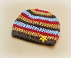 Crochet Beanie Hat Striped Baby Beanie by Adorably Hooked