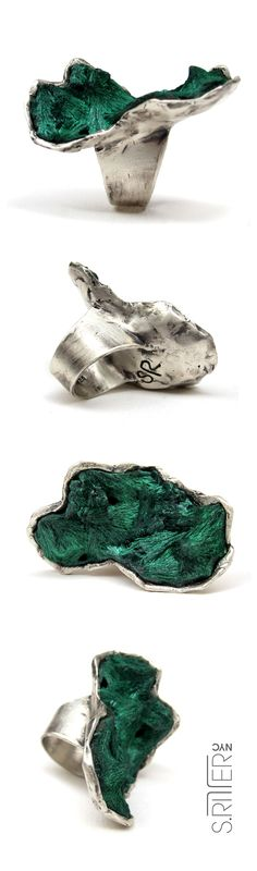 mossy fibrousy rich green malachite set in sterling silver. over hill and over dale, we while away the time, rolling up and down hills full of dreams and hopes, creating our perfect life.  that is the heart of malachite. || raw natural stone rings || elegant and raw statement rings || SRitterNYC.com