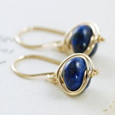 Lapis Lazuli Earrings 14k Gold Fill Navy Blue Gemstone By Aubepine 21 50 On Etsy