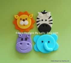 12 Edible Fondant Jungle Animals Cupcake Toppers - Elephant, Hippo, Lion &  Zebra via Etsy