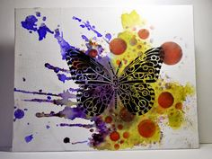 Eileen's Crafty Zone: Steampunk Butterfly Stencil on a Canvas with Brusho Paints.