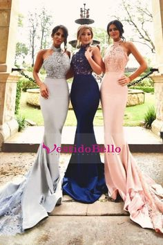 2017 vestidos de baile Halter blusa moldeada sirena Spandex