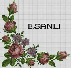 Cross stitch Embroidery Pattern for Tablecloth, Napkin. Cross Stitch Rose, Cross Stitch Flowers, Cross Stitch Charts, Cross Stitch Patterns, Cross Stitching, Cross Stitch Embroidery, Hand Embroidery, Bed Cover Design, Fair Isle Knitting Patterns