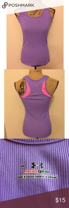 Under Armour Purple Athletic Tank Top Size Medium There are no flaws. It is a ribbed purple tank top with pink accents in the back. Under Armour Tops Tank Tops