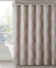 Blue And Brown Make The Perfect Pairing In This Faux Silk Shower Curtain Fabulous Combines Fabric With Gentle W